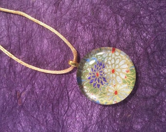 Floral Pattern Japanese Chiyogami and Glass  Pendant