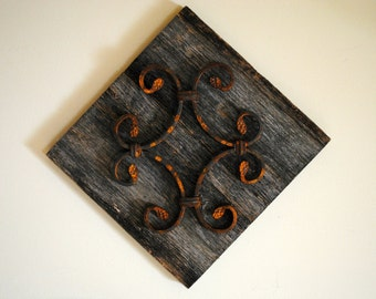 Wrought Iron & Reclaimed Wood Decorative Wall Hanging