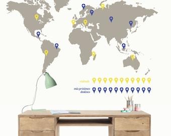 Vinyl world map gps