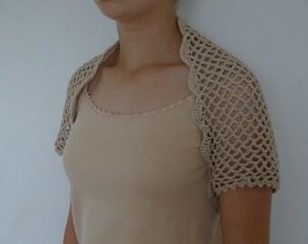 Crochet Beige Bolero 100% Cotton
