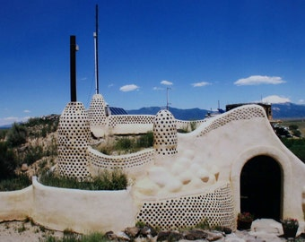 Nature Travel Photograph 5x7 Blank Greeting Card Earthship Taos New Mexico