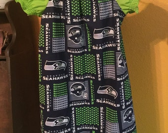 Custom Made Children's Team (Seahawks) Dress - sizes 12 months to 7/8