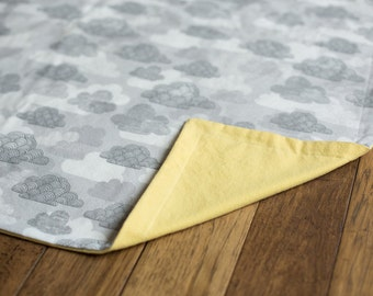 ORGANIC flannel baby blanket cloud print 30x40 neutral cuddle blanket, Regular Price 40.00 - ON SALE for 32.00