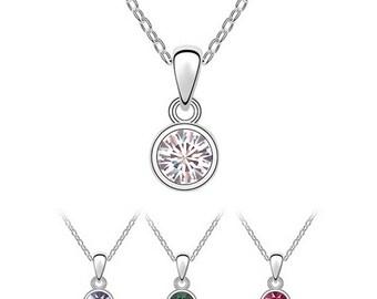 Simple Austrian Crystal Pendant Necklace