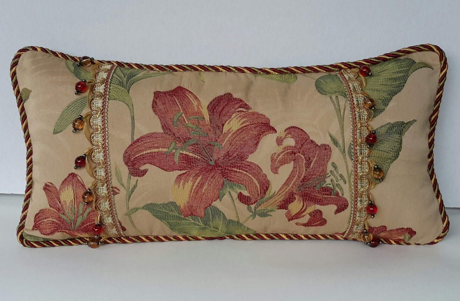 Red And Beige Decorative Pillows : Beige Red Tropical Floral Pillow Designer Lumbar Pillow