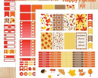 MAMBI Planner Stickers, Fall Stickers, Printable Stickers, Happy Planner Stickers, Autumn Stickers, Weekly Sticker Kit, Monthly Stickers