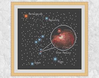 Astronomy cross stitch pattern, Orion cross stitch chart, constellation, night sky, stars, space, nebula, printable PDF - instant download