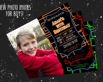 "Boy Birthday Invitation - For One Photo - Several Color Combos - Any age! 4""x6"" or 5""x7""!"