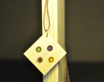Handmade Poplar and colored pencil pendants
