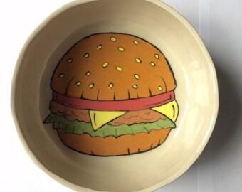 Burger dog bowl