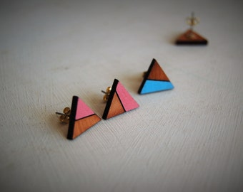 triangle wooden earrings,could be an original gift