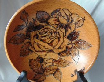 "FREE SHIPPING: Woodburning/Pyrography Bowl ""Rose"""