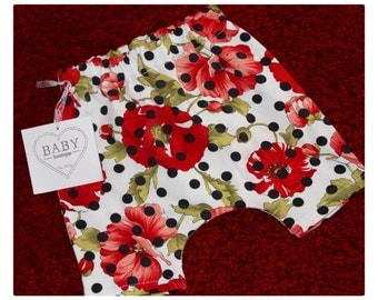 Harem pants Baby cotton Sweatshirt Fabric black white polka dot high fashion, fancy red poppies
