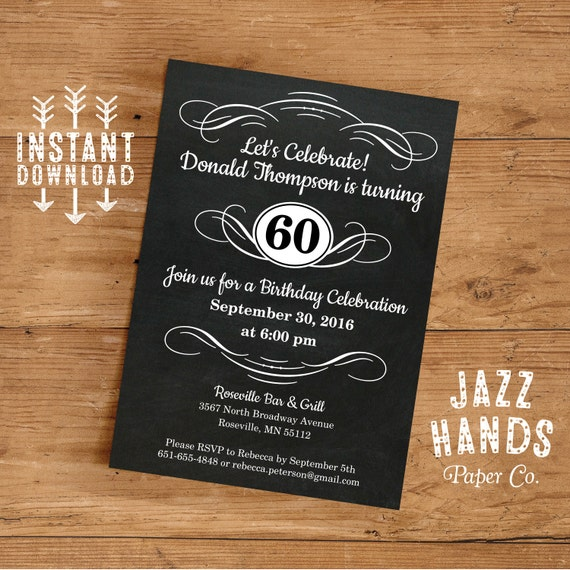 Vintage adult birthday invitation template diy printable 30th il570xn filmwisefo