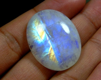 Blue Flash Rainbow Moonstone Gemstone Cabochon Oval shape Size 25x31 mm Approx Code No - C3