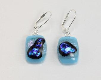 Fused Glass Earrings, Glass Earrings, Blue and Clear Glass Earrings