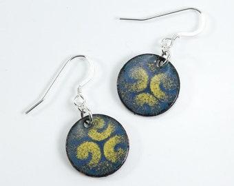 Silver Filled Metal Enamel Earrings Copper Penny Earrings Blue Green Earrings with Yellow Swirl Design