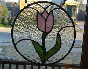 SOLD Stained Glass pink tulip