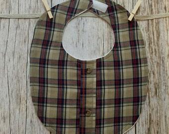 Button Down Bib - Tan, Red, and Blue Plaid - Baby Boy Bib - Fancy Bib - Drool Bib - Dress Up Bib - Baby Shower Gift - READY TO SHIP