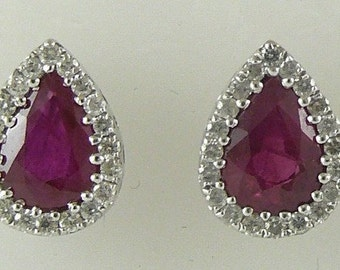 Ruby 1.56ct Stud Earring 18k White Gold with Diamonds 0.27ct