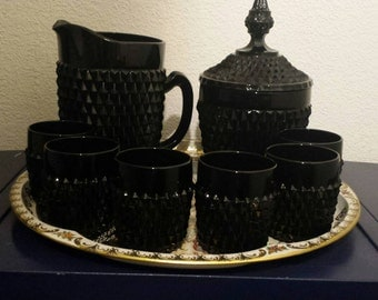 Indiana tiara black glass- tiara diamond point glass-barware set: pitcher, ice bucket with lid and 6 glasses  V-DAY SPECIAL
