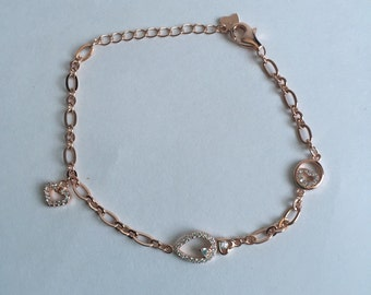 925 Sterling Silver Fancy Bracelet- Rose Gold Plated