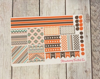 Orange, Brown, Teal Aztec Themed Planner Stickers - Made to fit Horizontal Layout