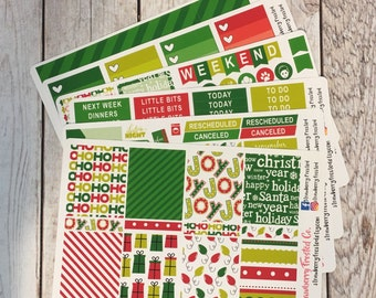 Red and Green Christmas Themed Kit---- Weekly Planner Kit ---- {Includes 210+ Stickers}