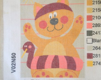 Cat with Lifebuoy, Le Chat a la bouee long stitch stencilled canvas,  Made in France 100% Cotton DMC V02N50