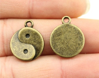 4 Yin Yang Charms, Antique Bronze Plated Charms (1K-55)
