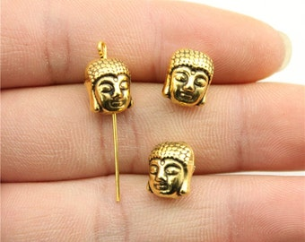 6 Buddha Head Charms, Antique Gold Tone Charms (1C-102)