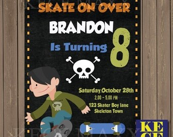 Skate Board Birthday Invitation,Skate Board Party,Sakte Board Theme,Skate Board Invitation Card,Roller Skate,Rams,Track,Balls,Pad,Grip
