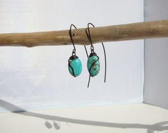 ethnic earrings, Bohemians, turquoise rustic