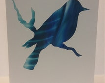 Encaustic Greeting Card unique blue green bird