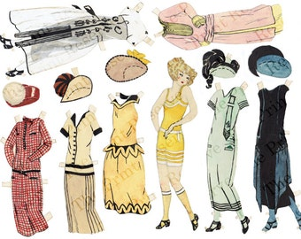 Paper Doll Printable Flapper Art Deco Hand Drawn & Painted Printable Instant Download