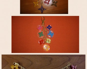 Colored resin charms keychain