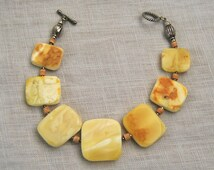 Genuine Baltic Amber Bracelet, Yellow, Butterscotch, White Amber, Square, Rectangle Amber Beads, Silver, White Matte Amber, Wooden Spacers