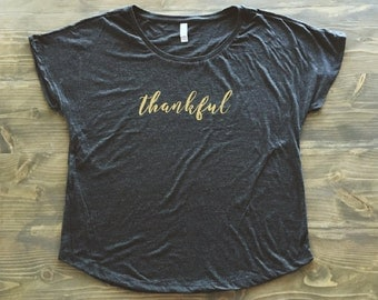 THANKFUL Women's Vintage Black Dolman Tri Blend Christian Top (Several Styles)
