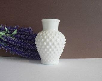 Small White Hobnail Milkglass Vase - Vintage - White Decor - Wedding - Shower Gift
