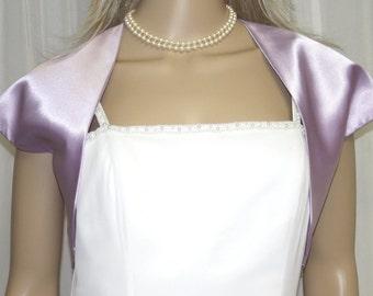 Lilac Light Purple Satin Bolero Jacket  Perfect for Bridal Prom Formal New !!