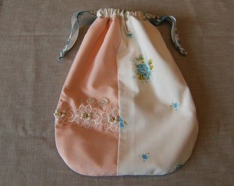 """Lined Drawstring Bag, Upcycled Purse, Large Drawstring Bag, 10"""" x 14"""" Drawstring Bag, Cloth Purse, Fabric Purse, Shabby Chic Pink & Blue Bag"""