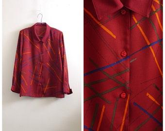 Vintage red long sleeve print blouse