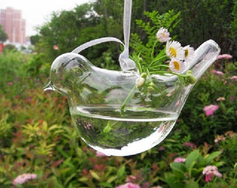 Hanging water plant planter vase/hand blown glass bird terrarium/Indoor gardening/home decor