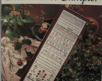 """Nos 1993 """"TRUST In THEE SAMPLER"""" #329 Counted Cross Stitch Needlework Pattern Leaflet, by Just CrossStitch Cathy Livingston Folk Art Sampler"""