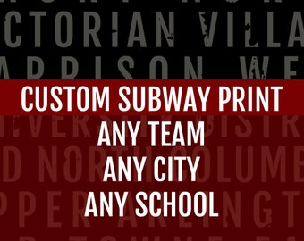 Custom Subway Art Print - Personalized Bus Scroll Poster - Subway Sign, Boyfriend Gift, Husband Gift, Train Scroll, Word Art, Typography