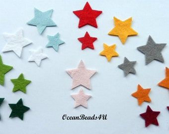40 Felt Stars (in two sizes)