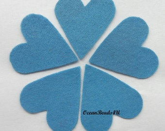 25 Blue Felt Hearts