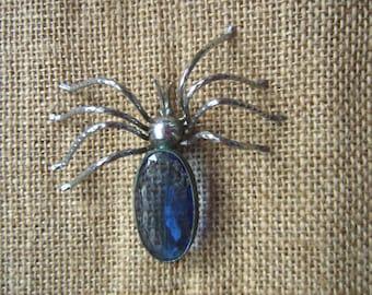 Vintage glass spider brooch