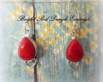 Red Coral Earrings, Genuine Coral Drop Earrings, Handmade Earrings, Red Coral Handmade Earrings, Silver Drop Earrings, Gift Ideas for Her