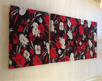 "3 Panel Designer Fabric Wall Art ""Gothic Roses"""